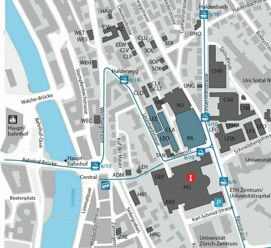Map ETH Zurich Zentrum, buildings of D-MAVT with public transport stations